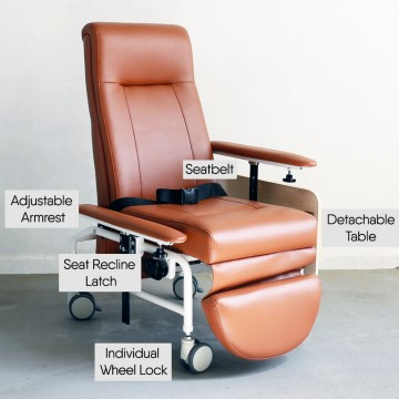 KW-WF-AA Reclining Geriatric Chair (Steel, With Wheels, Footrest & Adjustable Arm Rest)